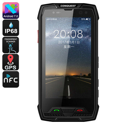 Conquest S11 Rugged Phone - IP68, Octa Core CPU, 6GB RAM, Android 7.0, 5 Inch HD