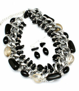Western-Chunky-Black-Silver-Multi-Strand-Fashion-Necklace-Set