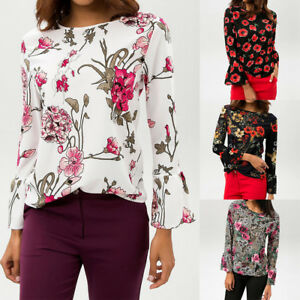 Newest Ladies Women Chiffon Floral Print Flare Long Sleeve Tops T ... ebe920aa1