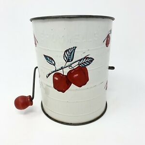 Vintage Bromwells Red Apples Flour Sifter Red Knob Handle 3 Cup Measure 1930s