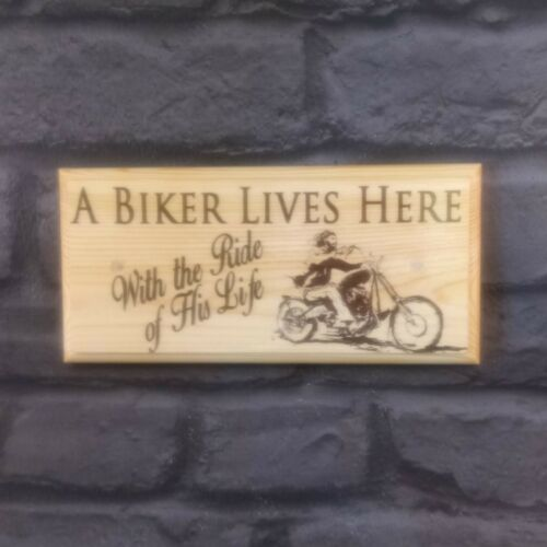 Sign //Gift A Biker Lives Here Plaque Ride Of His Life Home House Grandad 356