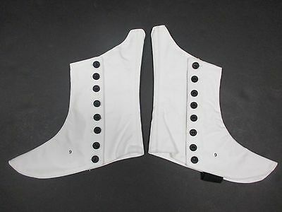 Shoe Black SPATS w WHITE CANVAS Uniform Accessory Covers Button Band NEW Side qAwOUtRA