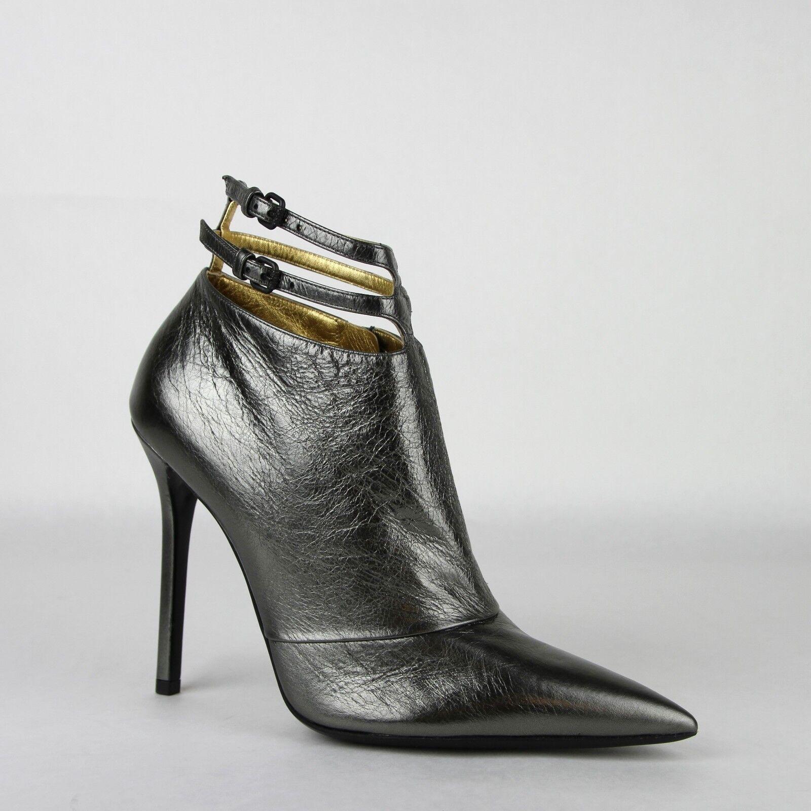 990 Bottega Veneta Women Grey Metallic Leather Ankle Heels w straps 443165 1117
