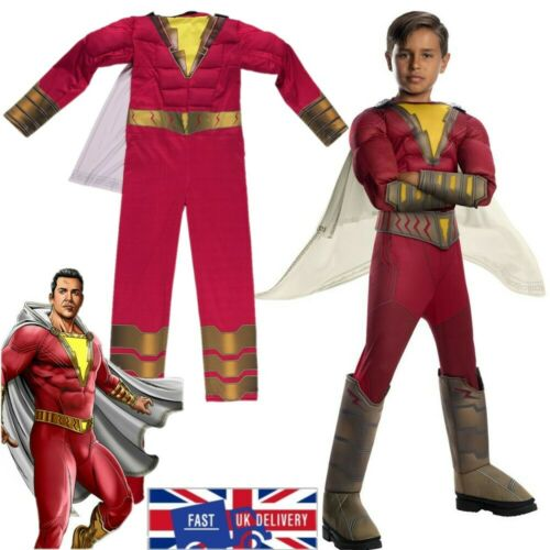 UK Boys Shazam Jumpsuit Cosplay Kids Captain Marvel Billy Batson Fancy Costume