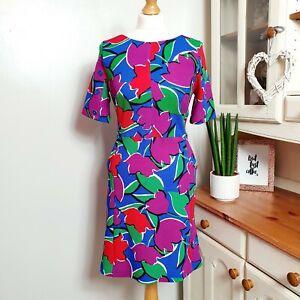 TU-Bright-amp-Bold-Flower-Print-Pocket-Textured-Shift-Dress-RRP-22-UK-12-14
