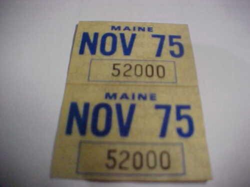 original 1975 nov Maine passenger car license plate sticker pair
