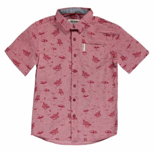 BNWT 10-11 yr Ben Sherman Boys Red Deckchair 100/% Cotton Short Sleeved Shirt