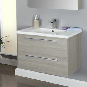 image is loading 800mm wall hung bathroom vanity unit amp basin - Bathroom Vanity Units