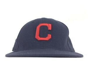 MLB Cleveland Indians New Era 5950 Black Baseball Cap Hat Fitted ... 468791be3