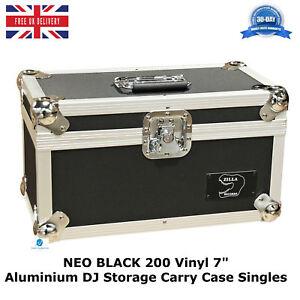 1-X-NEO-Aluminium-Black-DJ-Flight-Case-to-Store-200-Vinyl-Singles-7-034-Records-HQ