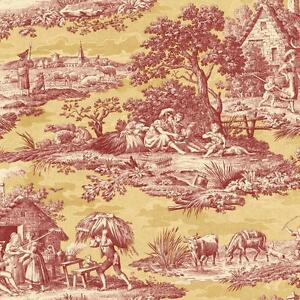 Wallpaper-Designer-French-Country-Life-Toile-Rust-Red-Saffron-Gold