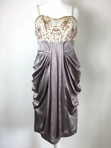 Monsoon-Silk-Dress-Lilac-Taupe-Draped-Flattering-Beaded-Cocktail-Cruise-10-12-UK