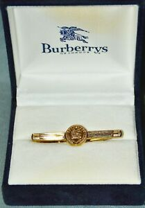 Tie-Clamp-Tie-Slide-Burberrys-Of-London-Gold-Plated-Orig-Box