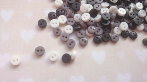 Doll Craft Sewing 25 Shade of Grey Colour 50 Tiny Baby 6mm Buttons