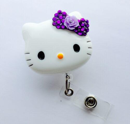 "Bling Hello Kitty 45 mm//1.9/"" Rétractable Reel ID Badge Holder /_ fleur pourpre NOUVEAU"