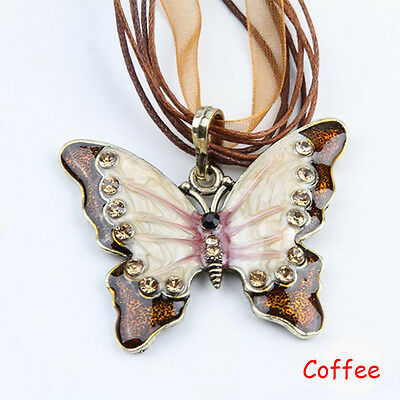 Fashion Heavy Rhinestone Butterfly Necklace Sweater Chain 6 Color 44cm Long