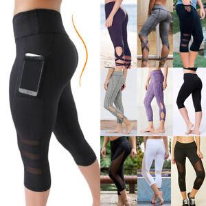 Women-039-s-High-Waist-Yoga-Pants-Pocket-Fitness-Sports-Capri-Leggings-Plus-Size-OB