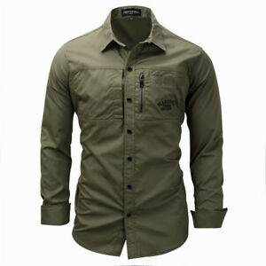 Mens-Shirt-Slim-Fit-Long-Sleeve-Military-Cargo-Army-Outdoor-Sport-Work-Shirts