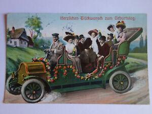 alte-Ansichtskarte-Auto-Oldtimer-1909-Glueckwunsch-Geburtstag
