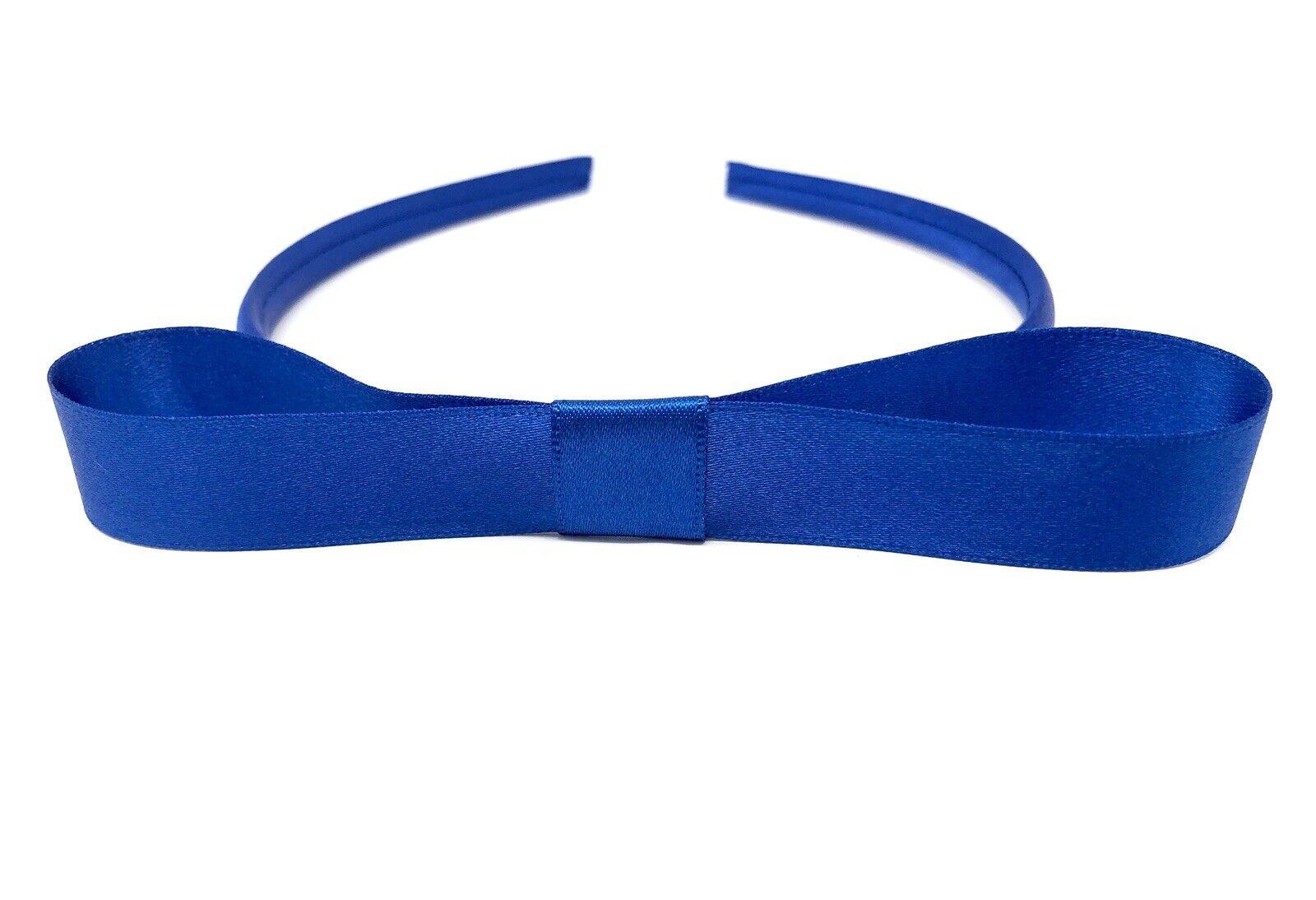 Royal Blue Matilda Style Snow White Satin Girls Alice Band Headband Hairband Bow