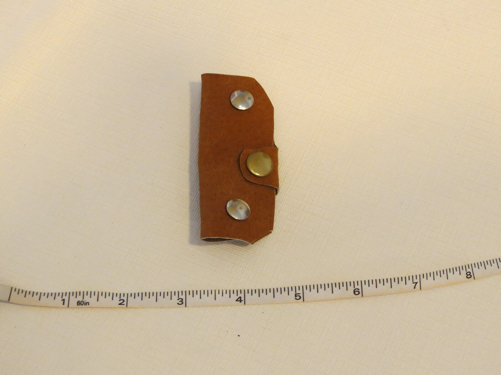 Handmade leather key holder brown with gold tone snap & silver tone 3.25