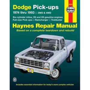 Haynes Workshop Manuale Dodge RAMCHARGER Trailduster 1974-1993 Servizio di Riparazione