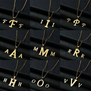 Fashion-Stainless-Steel-Women-Gold-Jewelry-Set-Letter-Pendant-Earrings-Necklace