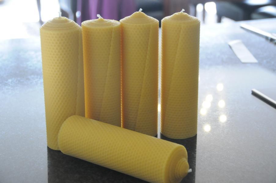 5x Velas Cera de abeja XXL 100% 220 x 65mm hecho a mano AUS D