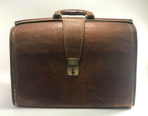 Vintage Leather Doctor Bag Large Antique Doctors Brown Dr Satchel Old House Case