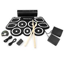 BCP Foldable Electronic Drum Set w/ USB MIDI, Drumsticks - Black