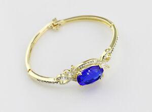 Or-Plaque-Femme-Bracelet-Zircon-Cristal-Bleu-Mode-Breloque-Mariage-Bijoux-Cadeau