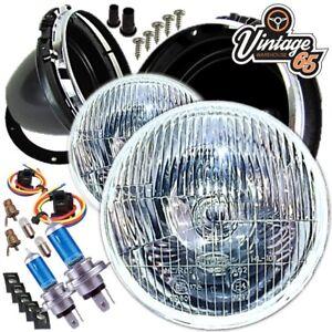 Mini-City-1000-1300-7-034-Sealed-Beam-Halogen-Conversion-Headlight-Kit-With-Bulbs