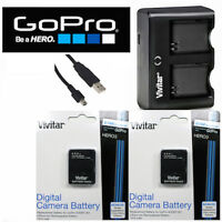 2x Battery For Gopro Hero3 Hero3+ Ahdbt-302 + Usb Dual Charger + Cleaning Kit