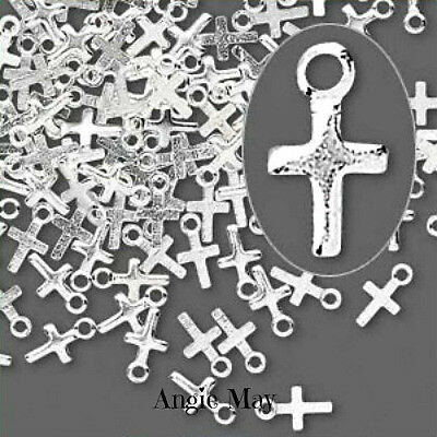 100* Silver Plated 7x4mm CROSS CHARMS DROPS - Wholesale