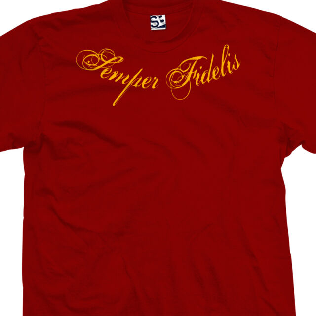 Semper Fidelis Tattoo T-Shirt - Distressed Collar Script Marines All Size Colors