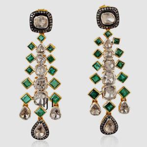 Natural Diamond Polki & Rose Cut Diamond, Emerald 925 Sterling Silver Earrings