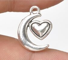 Wholesale 25pcs Tibetan Silver Moon Heart  jewelry accessories DIY Pendant A3354