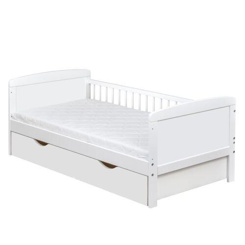 Schublade Kinderbett Juniorbett Massivholz in Weiss 140x70 Matratze