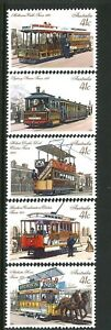 Australia-MNH-1989-Full-SET-of-5x-41c-Historic-Trams-Stamp-Series-variety-Issues