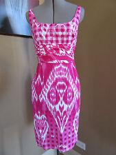 Oscar de la Renta Pink White Cotton/Spandex Dual Print Sheath Dress Size 4