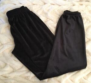 New-Victoria-039-s-Secret-PINK-Velour-Classic-Pants-Sweatpants-Pure-Black-XS