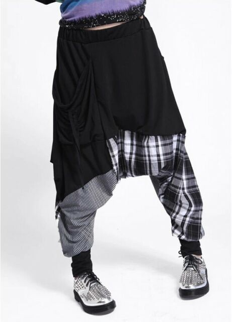 Womens Harem Baggy Hippie Rope Plaid Striped Spliced Dance Pants Casual Trousers