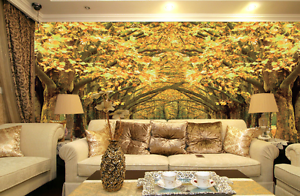 3D Trees Leaves Road Wall Paper Wall Print Decal Wall AJ WALLPAPER CA