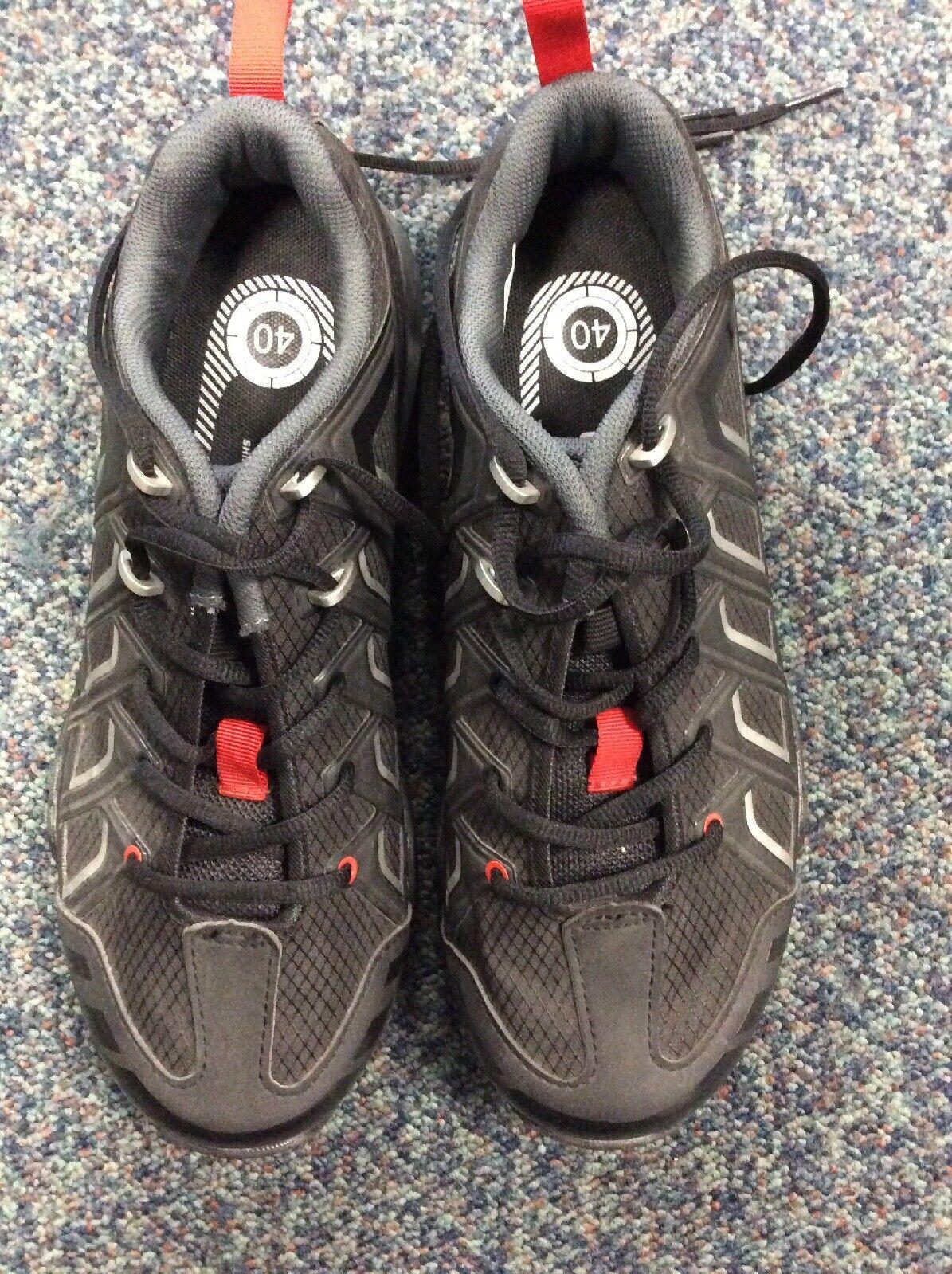 Shimano MT34 SPD Zapatos, Talla 40, con tacos, Negro Rojo,