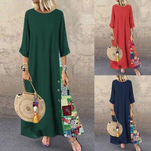 Robe-Femme-Mode-Demi-Manche-Impression-Couture-Dresse-Plage-Vacances-Maxi-Plus