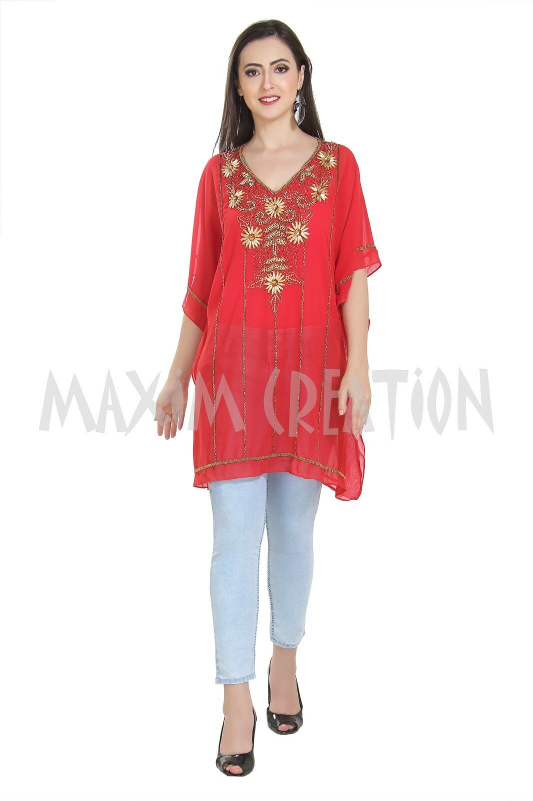 Haute Coutre Designer Wear Kurti Hand Embroidered Blouson Daily Use Top 6516