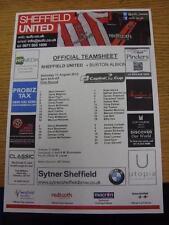 11/08/2012 Colour Teamsheet: Sheffield United v Burton Albion  (plain back). Ite