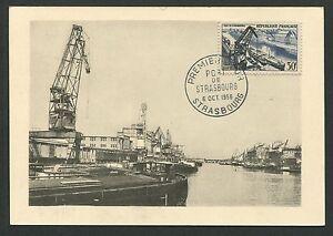 FRANCE-MK-1956-STRASBOURG-HAFEN-SCHIFFE-MAXIMUMKARTE-CARTE-MAXIMUM-CARD-MC-d4519