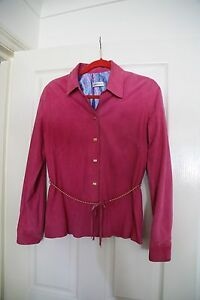 CONFORT-ABSOLU-PARIS-Women-039-s-pink-blazer-with-gold-poppers-suede-size-M-L