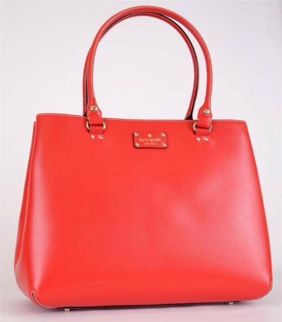 Kate Spade Shoulder Tote Wellesley Fallon Garnet Red Leather Handbag